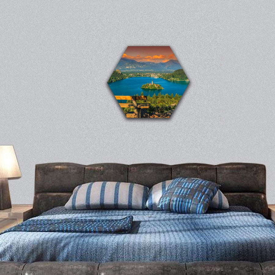 Lake Bled With St Marys Church Hexagonal Canvas Wall Art 7 Hexa / Small / Gallery Wrap Tiaracle