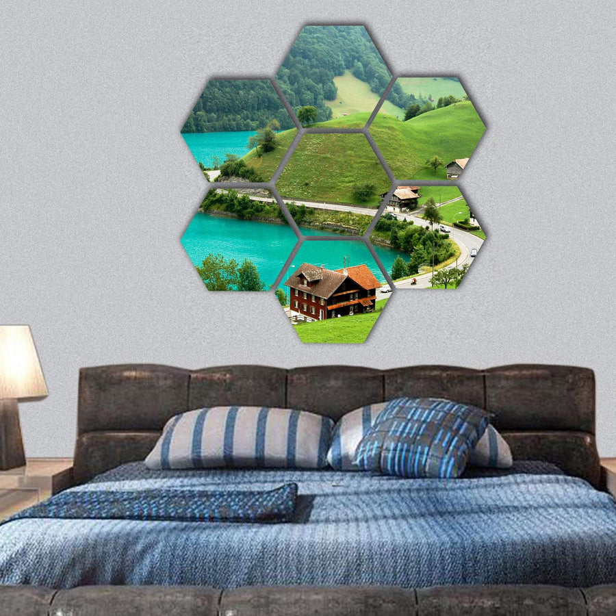 Lake Brienz During Spring Time Hexagonal Canvas Wall Art 1 Hexa / Small / Gallery Wrap Tiaracle