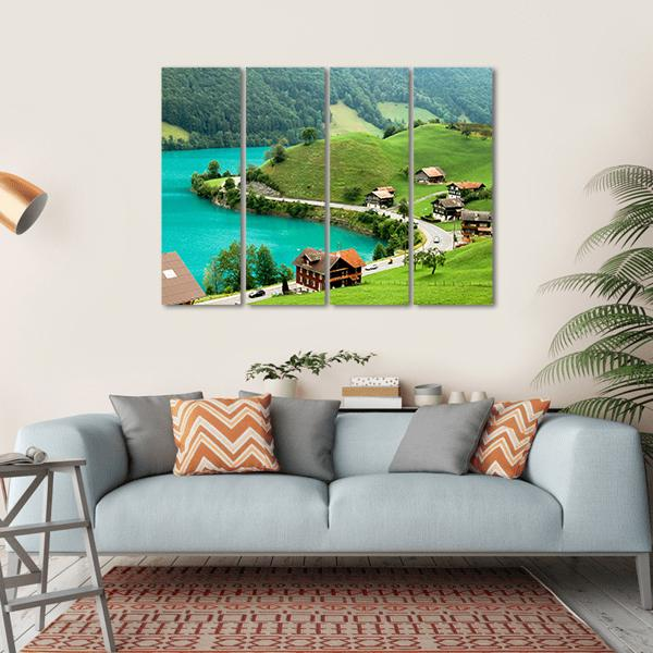 Lake Brienz During Spring Time Multi Panel Canvas Wall Art 1 Piece / Small / Gallery Wrap Tiaracle