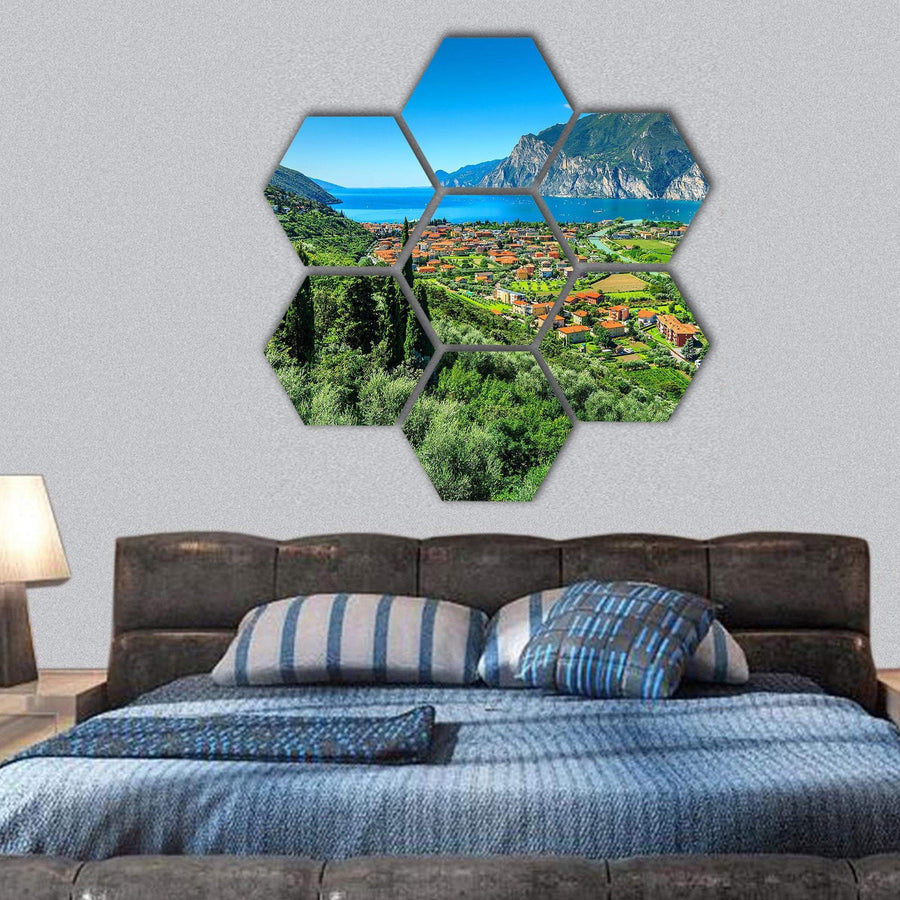 Lake Garda And Sarca River Hexagonal Canvas Wall Art 1 Hexa / Small / Gallery Wrap Tiaracle