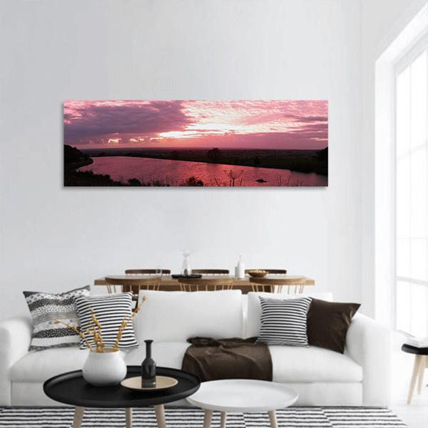 Lake In Lancashire Panoramic Canvas Wall Art 3 Piece / Small Tiaracle