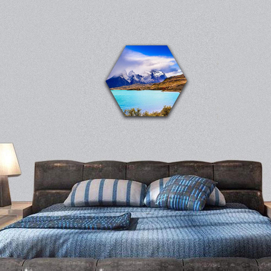 Lake In Patagonia, Chile Hexagonal Canvas Wall Art 7 Hexa / Small / Gallery Wrap Tiaracle