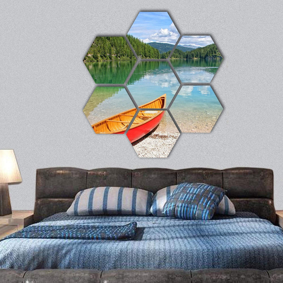 Lake Lago Di Braies With Canoe Hexagonal Canvas Wall Art 1 Hexa / Small / Gallery Wrap Tiaracle
