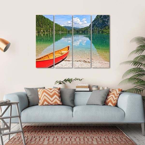 Lake Lago Di Braies With Canoe Multi Panel Canvas Wall Art 1 Piece / Small / Gallery Wrap Tiaracle