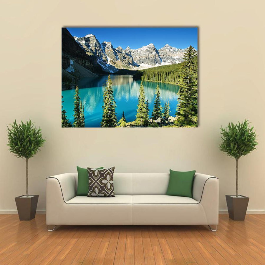 Lake Moraine In Banff National Park Multi Panel Canvas Wall Art-4 Square-Small-Gallery Wrap-Tiaracle