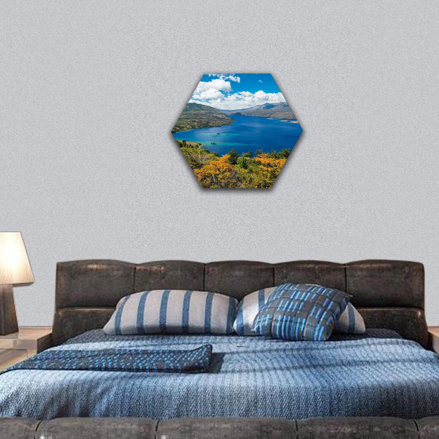 Lake Of Cochrane In Chile Hexagonal Canvas Wall Art 7 Hexa / Small / Gallery Wrap Tiaracle