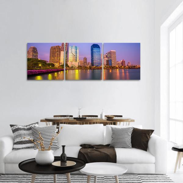 Lake Ratchada With City view In Bangkok Panoramic Canvas Wall Art 1 Piece / Small Tiaracle
