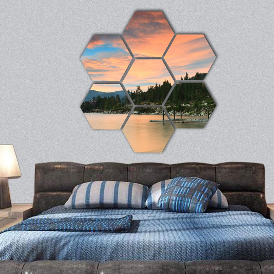 Lake Tahoe After Sunset Hexagonal Canvas Wall Art 1 Hexa / Small / Gallery Wrap Tiaracle