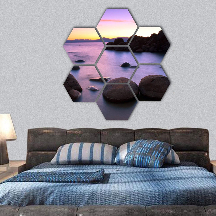 Sunset Over Lake Tahoe Hexagonal Canvas Wall Art 1 Hexa / Small / Gallery Wrap Tiaracle