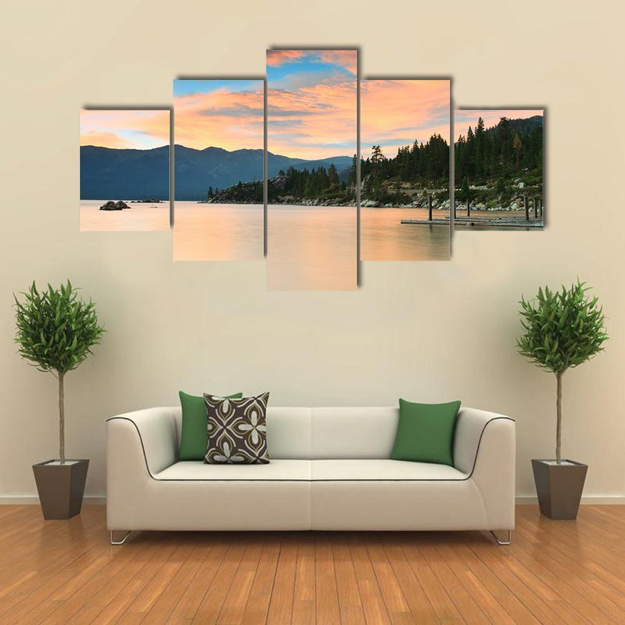 Lake Tahoe After Sunset Multi Panel Canvas Wall Art 4 Pieces / Medium / Canvas Tiaracle