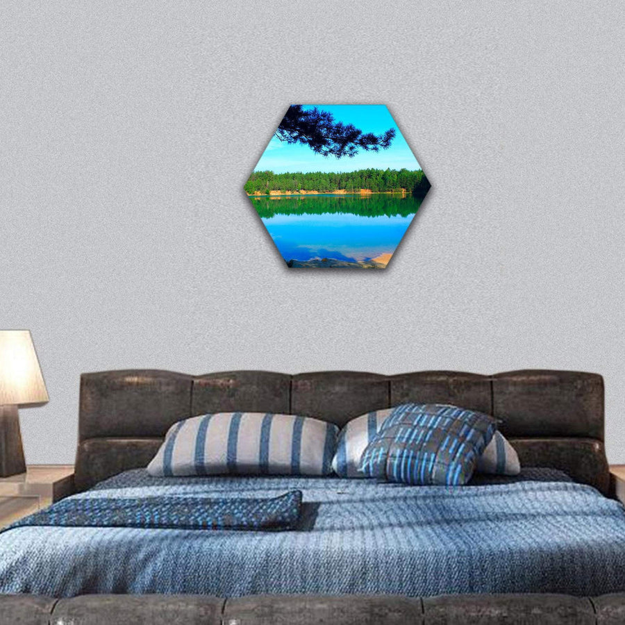 Lake With Emerald Water In Pine Forest Hexagonal Canvas Wall Art 7 Hexa / Small / Gallery Wrap Tiaracle
