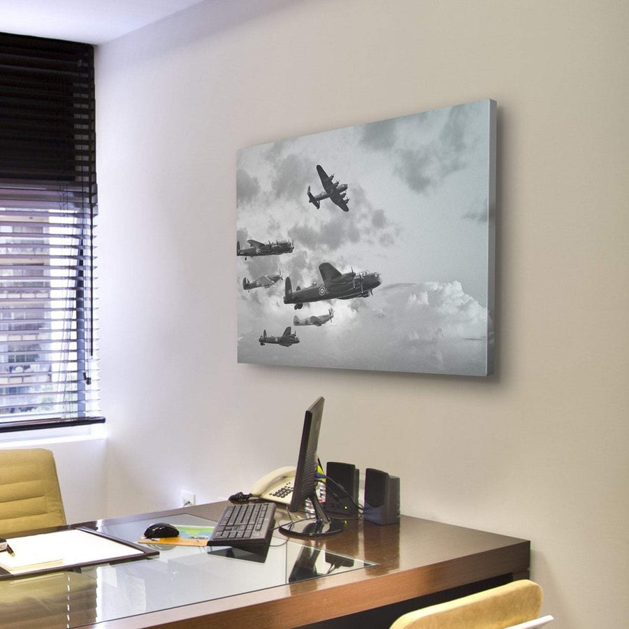 Lancaster Bombers From Battle Of Britain In World War Canvas Panel Painting Tiaracle