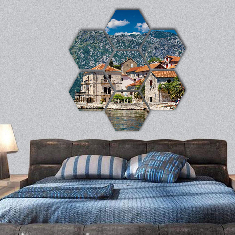 Landscape Of Perast Town Hexagonal Canvas Wall Art 1 Hexa / Small / Gallery Wrap Tiaracle