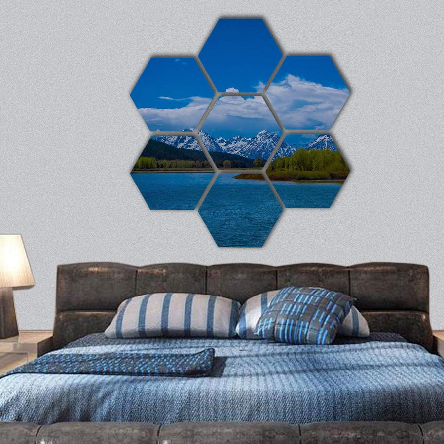 Landscape Of Yellowstone River Hexagonal Canvas Wall Art 1 Hexa / Small / Gallery Wrap Tiaracle