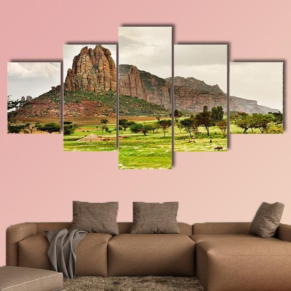 Landscape Shot In Tigray Province Multi Panel Canvas Wall Art 3 Pieces / Medium / Canvas Tiaracle