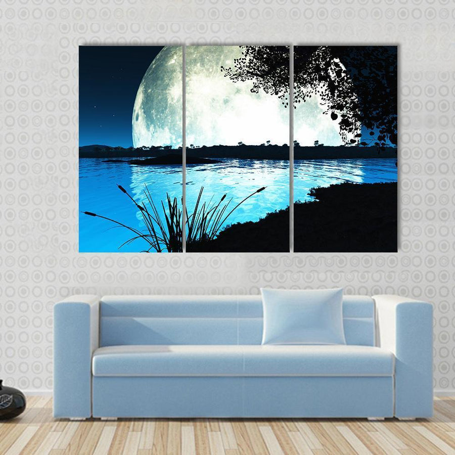 Large Moon On Alien Planet Canvas Panel Painting Tiaracle