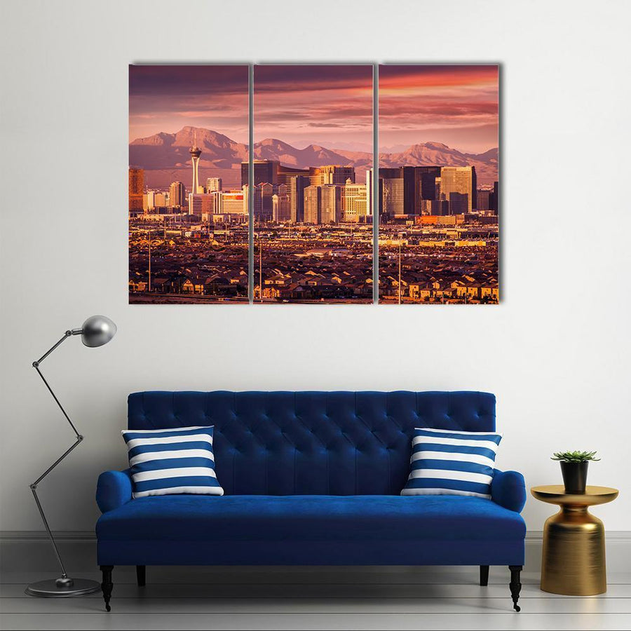 Famous Las Vegas Strip Skyline At Sunset Multi Panel Canvas Wall Art 5 Pieces(A) / Medium / Canvas Tiaracle