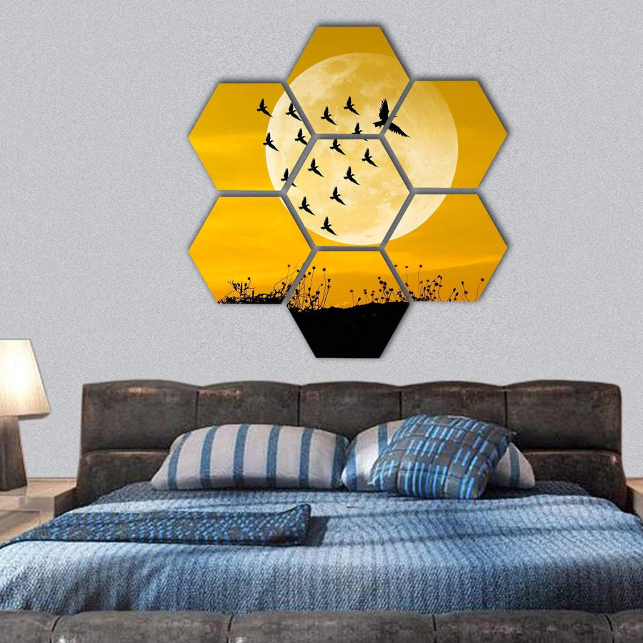 Leadership Concept With Moon And Birds Hexagonal Canvas Wall Art 1 Hexa / Small / Gallery Wrap Tiaracle