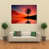 Leafless Tree Near Lake On Sunset Multi Panel Canvas Wall Art 1 Piece / Xsmall / Gallery Wrap Tiaracle