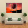 Leafless Tree Near Lake On Sunset Multi Panel Canvas Wall Art 3 Horizontal / Small / Gallery Wrap Tiaracle