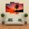 Leafless Tree Near Lake On Sunset Multi Panel Canvas Wall Art 4 Pop / Small / Gallery Wrap Tiaracle