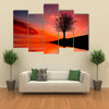 Leafless Tree Near Lake On Sunset Multi Panel Canvas Wall Art 5 Pop / Small / Gallery Wrap Tiaracle