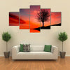 Leafless Tree Near Lake On Sunset Multi Panel Canvas Wall Art 5 Star / Small / Gallery Wrap Tiaracle