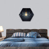 Light Bulbs With One Glowing Hexagonal Canvas Wall Art 1 Hexa / Small / Gallery Wrap Tiaracle