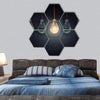 Light Bulbs With One Glowing Hexagonal Canvas Wall Art 7 Hexa / Small / Gallery Wrap Tiaracle