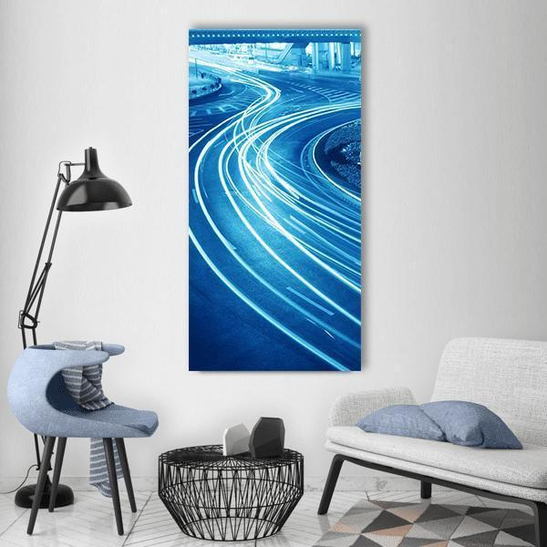 Light Trails Shanghai Street Vertical Canvas Wall Art 3 Vertical / Small / Gallery Wrap Tiaracle