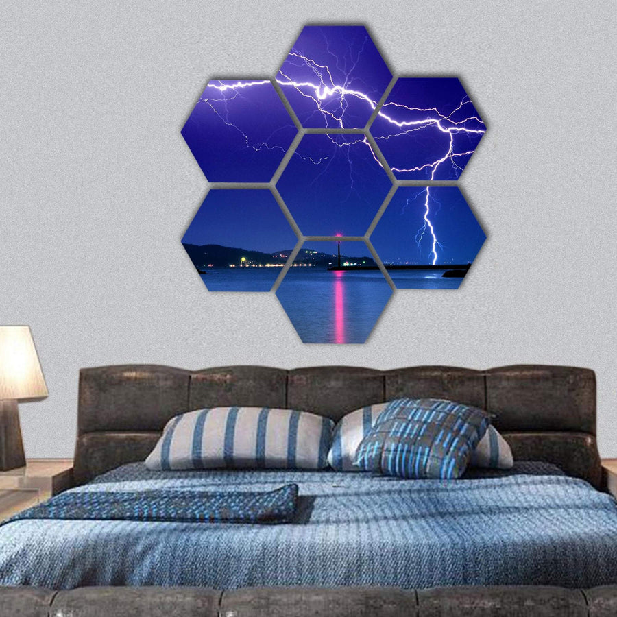 Lightning Above The Lake Hexagonal Canvas Wall Art 1 Hexa / Small / Gallery Wrap Tiaracle