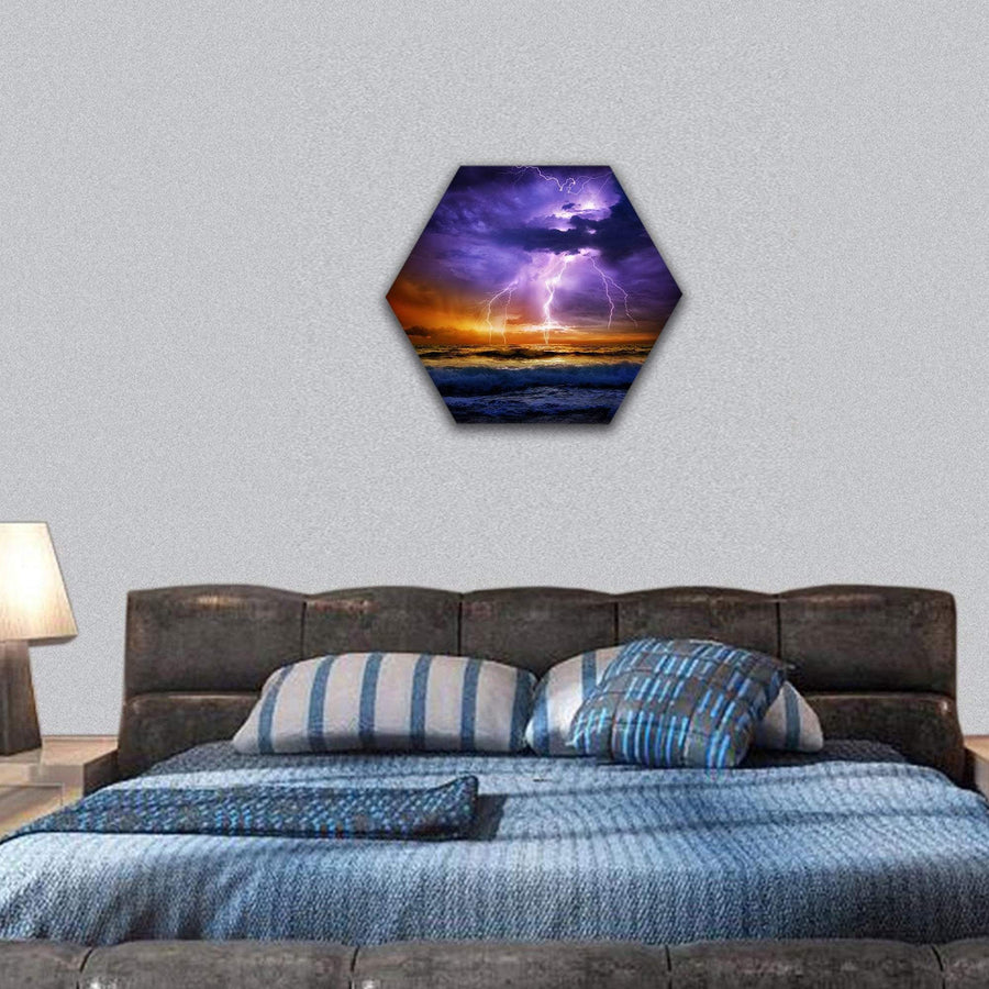 Lightning And Storm On Sea To The Sunset - Bad Weather Hexagonal Canvas Wall Art 7 Hexa / Small / Gallery Wrap Tiaracle