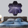 Lightning In The Tucson Valley Hexagonal Canvas Wall Art 7 Hexa / Small / Gallery Wrap Tiaracle