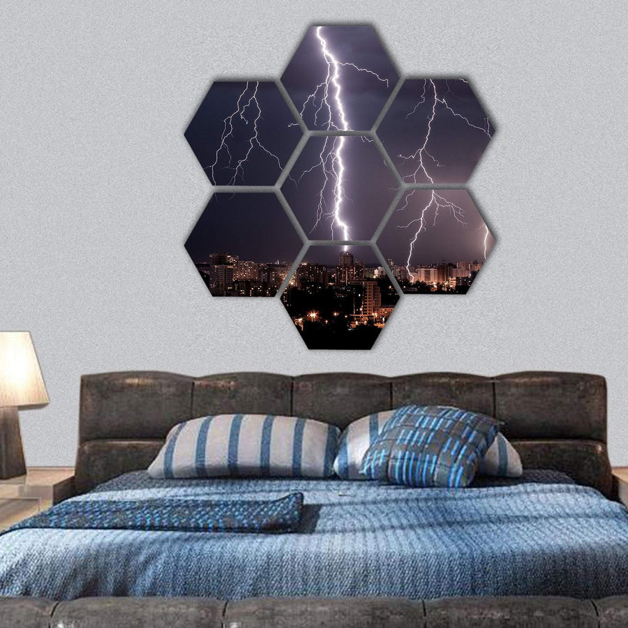 Lightning Storm Over City Hexagonal Canvas Wall Art 1 Hexa / Small / Gallery Wrap Tiaracle
