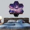 Lightning Storm Over City In Purple Light Hexagonal Canvas Wall Art 7 Hexa / Small / Gallery Wrap Tiaracle