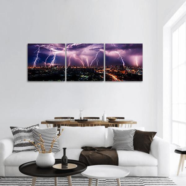 Lightning Storm Over City Panoramic Canvas Wall Art 1 Piece / Small Tiaracle