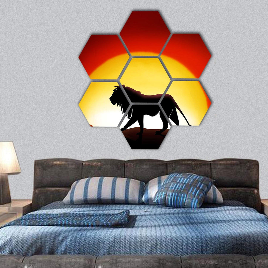 Lion In A Sunset Hexagonal Canvas Wall Art 1 Hexa / Small / Gallery Wrap Tiaracle