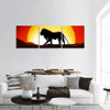 Lion In A Sunset Panoramic Canvas Wall Art 3 Piece / Small Tiaracle