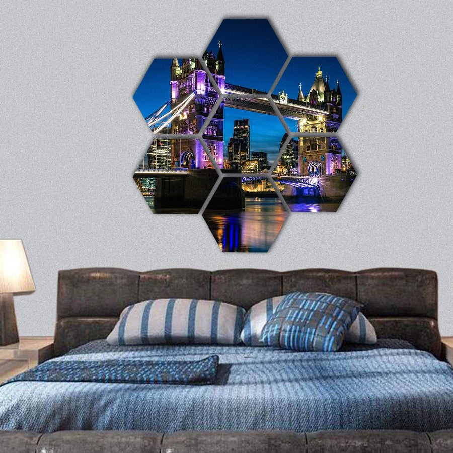 London Tower Bridge And Thames River Hexagonal Canvas Wall Art 1 Hexa / Small / Gallery Wrap Tiaracle