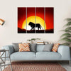 Lonesome Lion In A Sunset Multi Panel Canvas Wall Art 4 Horizontal / Small / Gallery Wrap Tiaracle