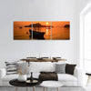 Long Tail Boat At Sunrise Beach Panoramic Canvas Wall Art 3 Piece / Small Tiaracle