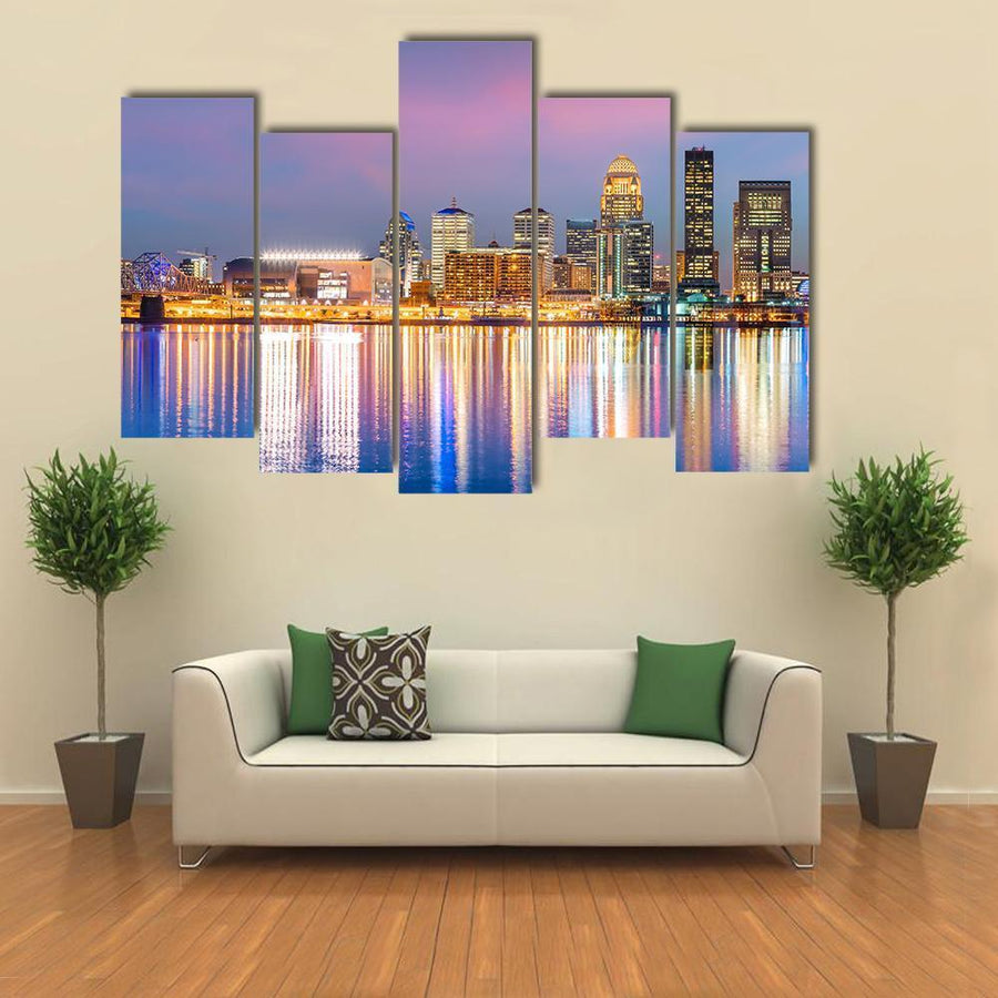 View Of Skyline Downtown Louisville Multi Panel Canvas Wall Art 3 Pieces / Medium / Canvas Tiaracle