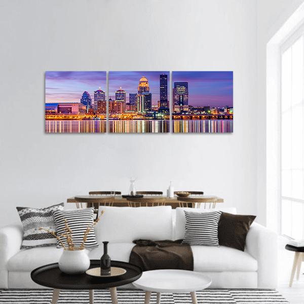 Louisville Skyline On The River Panoramic Canvas Wall Art 1 Piece / Small Tiaracle
