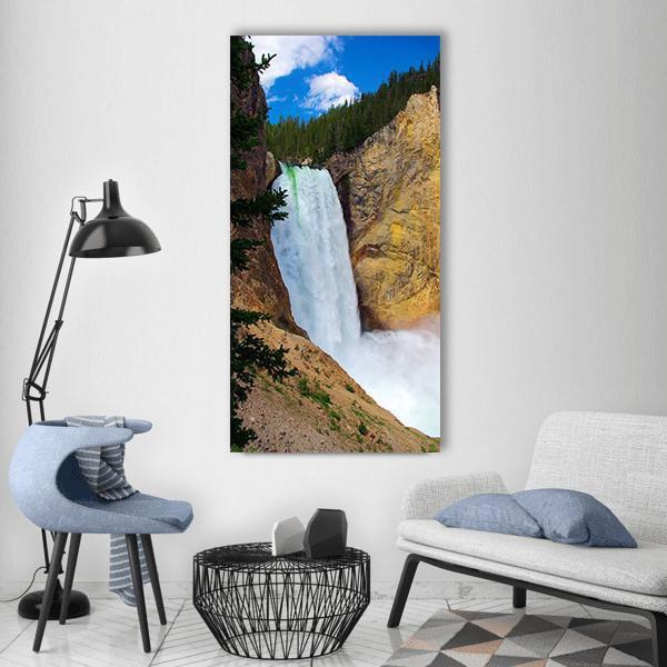 Lower Falls Of The Yellowstone National Park Vertical Canvas Wall Art 3 Vertical / Small / Gallery Wrap Tiaracle
