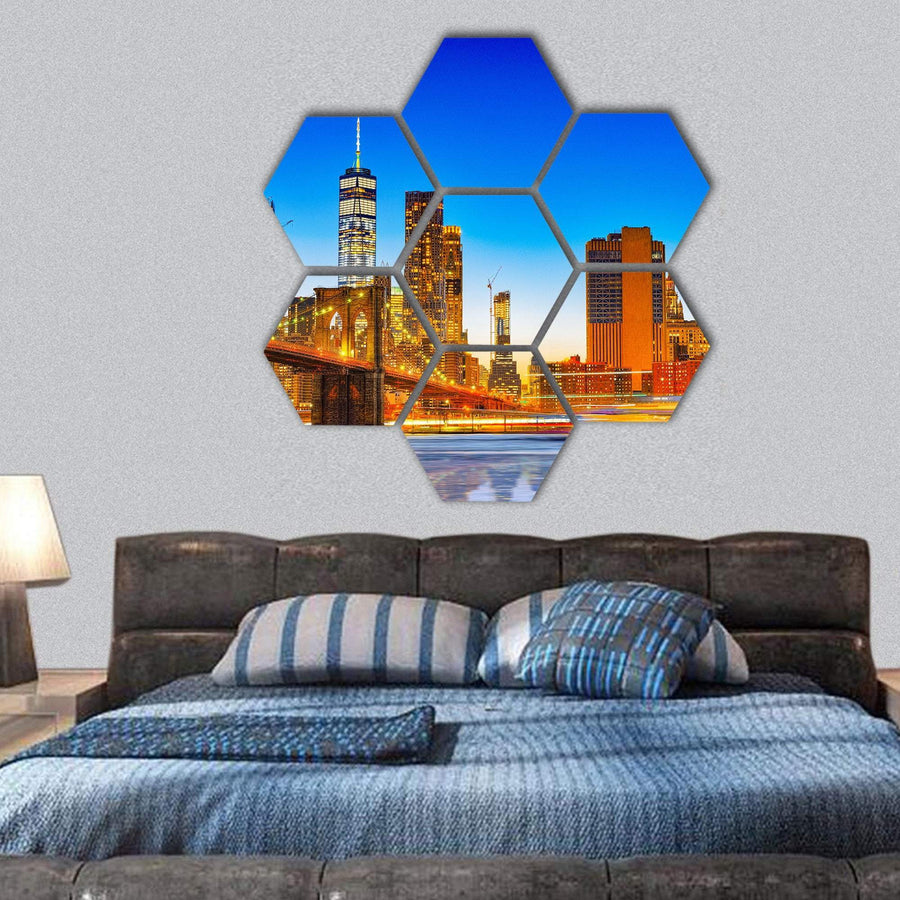 Lower Manhattan And Brooklyn Bridge Across East River Hexagonal Canvas Wall Art 1 Hexa / Small / Gallery Wrap Tiaracle