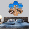 Lower Manhattan From Brooklyn Bridge Hexagonal Canvas Wall Art 7 Hexa / Small / Gallery Wrap Tiaracle