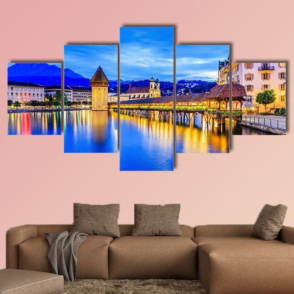 Lucerne Switzerland Chapel Bridge At Night Multi Panel Canvas Wall Art 4 Pieces / Medium / Canvas Tiaracle