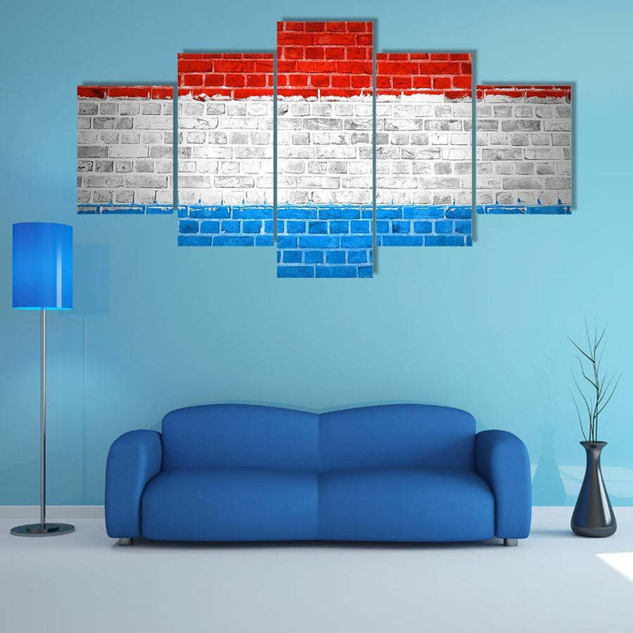 Luxembourg Flag Painted On A Brick Wall Multi Panel Canvas Wall Art 4 Pieces / Medium / Canvas Tiaracle