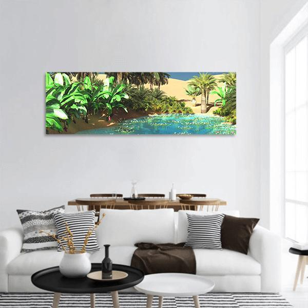 Luxurious Tropical Arabic Beach Panoramic Canvas Wall Art 3 Piece / Small Tiaracle