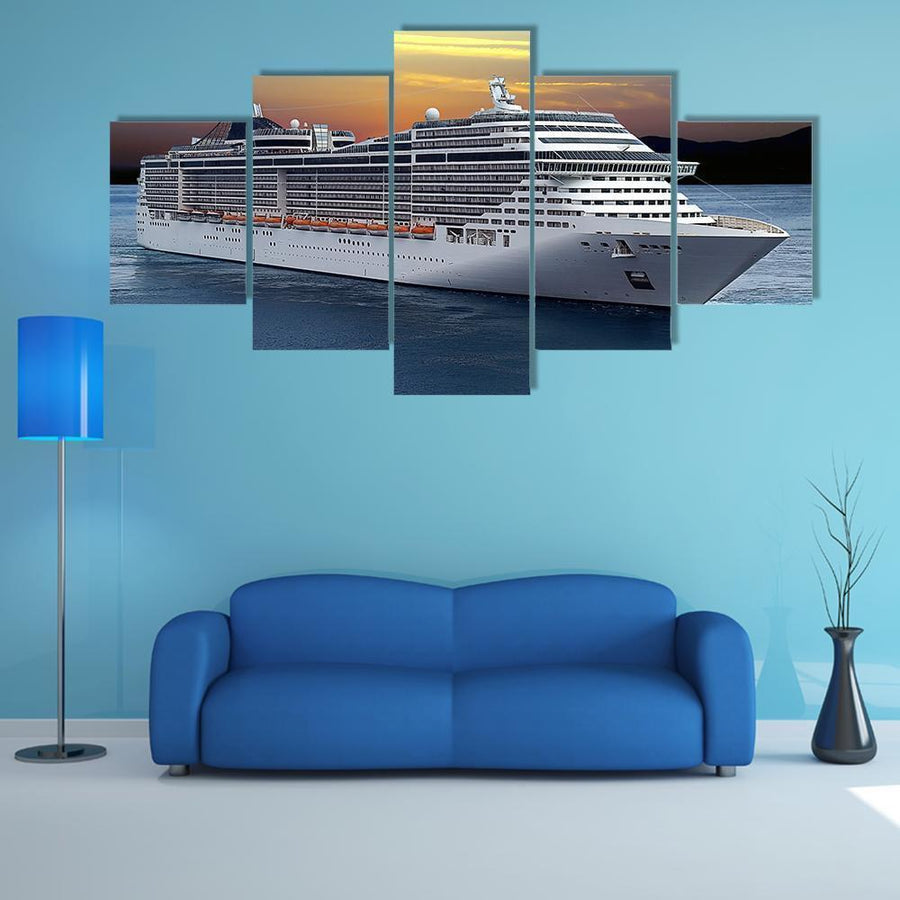 Luxury Cruise Ship Sailing At Sunset Multi Panel Canvas Wall Art 1 Piece / Medium / Canvas Tiaracle